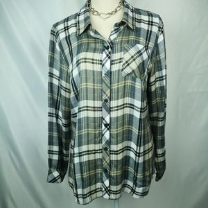 Christopher Banks plaid shirt with strands of silv